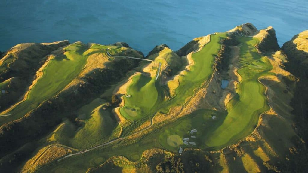 Golfbanen på Cape Kidnappers i Hawke's Bay på New Zealand.