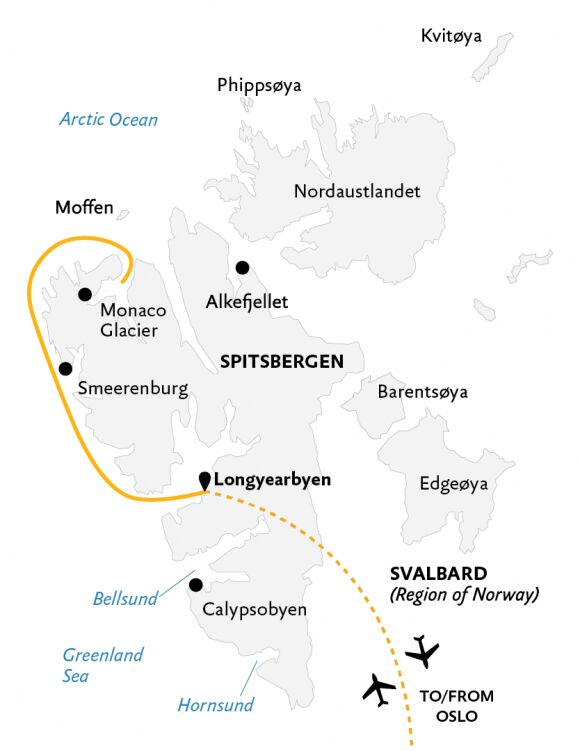 Kart Spitsbergen Highlights